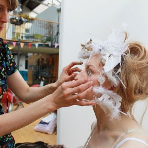 Julie making up the ice Queen - 'In-between Book' - Kate George + Julie Mcguire Edinburgh
