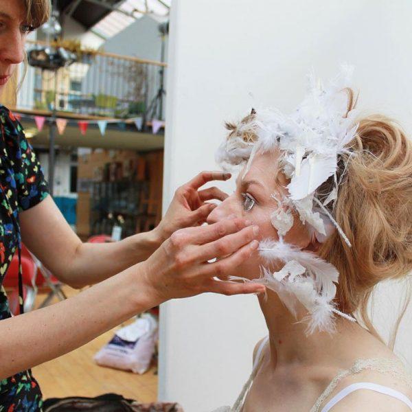 Julie making up the ice Queen - 'In-between Book' - Kate George + Julie Mcguire Edinburgh